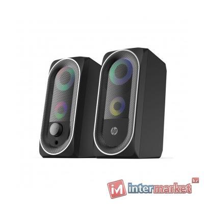Колонки, HP, DHE-6001, 3Вт2, USB, LED, Длина кабеля 1,5м, Черный
