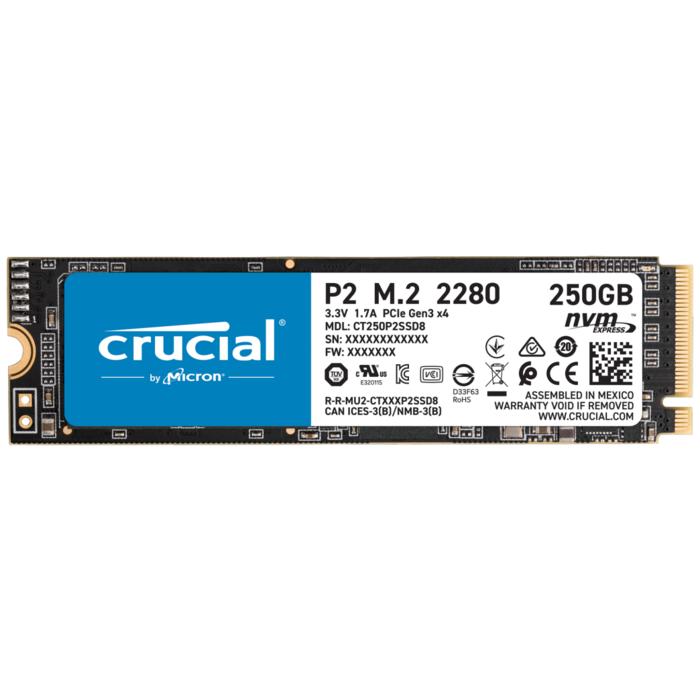 Твердотельный накопитель 250Gb SSD Crucial P2 M.2 2280 NVMe (PCIe Gen3x4) R2100Mb/s W1150MB/s CT250P2SSD8